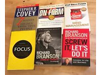 Self-help book pack: Richard Branson, Stephen Covey, Chimp Paradox.