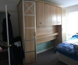OAK style Over head double bed size wardrobe and folding cupboards
