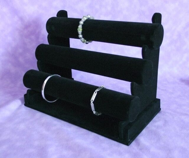 Black Flocked Three Tier T Bar Bracelet & Watch Display