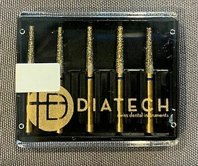Diatech Dental Gold Diamond Burs Flat End Taper Asst Sizes You Pick 5 Count