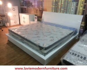 Modern white lacquer high glossy King size bed frame: $799