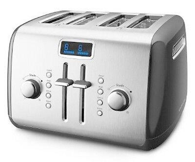 KitchenAid Digital Display KMT422QG 4-Slice Toaster Stainl Steel Liquid Graphite