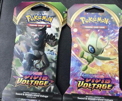 *SEALED* Pokemon TCG (2) Pack Lot x Vivid Voltage SLEEVED BOOSTER Random Art Set