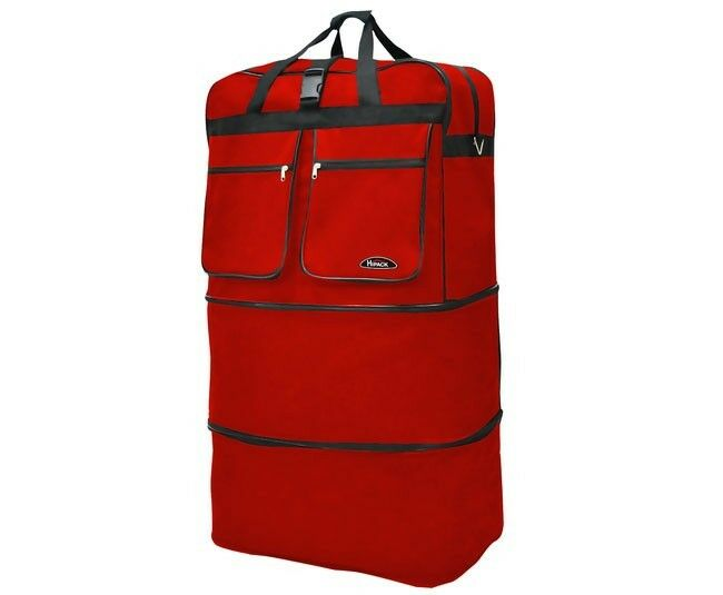 """40"""" Red Rolling Wheeled Duffle Bag Spinner Suitcase Expandable Luggage - New"""