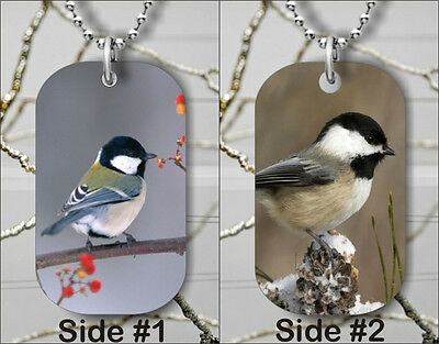 BIRD CHICKADEE BLACK CAPPED BREED DOG TAG NECKLACE PENDANT FREE CHAIN -gsc3Z