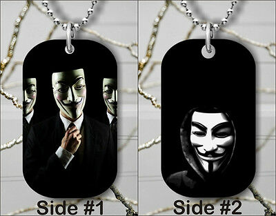 ANONYMOUS 2 WHITE MASK STYLE DOG TAG PENDANT NECKLACE FREE CHAIN -kdg4Z