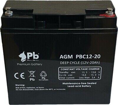 Batería para carro golf/moto eléctrica PB AGM Ciclo profundo PBC12-20 12V 20Ah