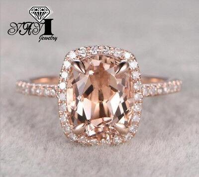 (Fashion Rose Gold Filled White Sapphire Birthstone Wedding Princesses Band Ring)
