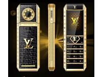 Limited edition luxury gold plated designer phone, Leather lining, Crystal feature***GOOD AS NEW***