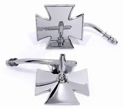 Spiegel Malteser Eisernes Kreuz Chrom für Harley Sportster Chopper Motorrad