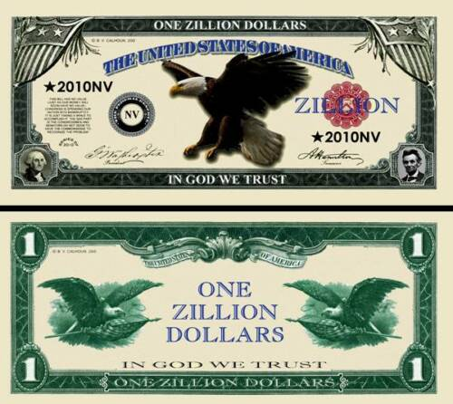 Eagle Zillion Dollar Bill #2010NV Fake Funny Money Novelty Note + FREE SLEEVE