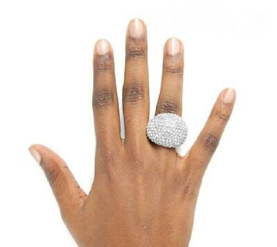 Silver Tone Clear Crystal Dome Shape Stretch Ring  Tone Crystal Dome