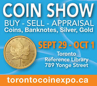 TORONTO COIN EXPO - Canada's Coin Show - Sept 30-Oct 1, 2016