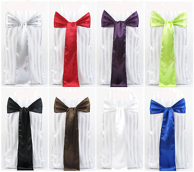 100 Satin Chair Cover Sash Bows 6x108 30 Colors Made In U.s.a Wedding Party