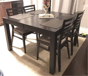 Black Wooden Dining Set, 6 chairs