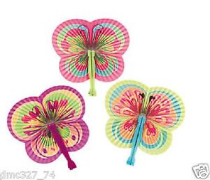 12 Birthday Tea Party Favors Girls Paper BUTTERFLY Shaped Folding Fans