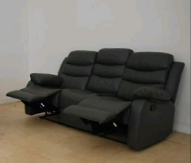 Black 3+2 Seater Sorrento Fabric Recliners Sofas With Cupholders