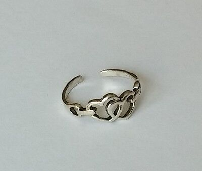 925 Sterling Silver Adjustable Heart Link Toe Ring New