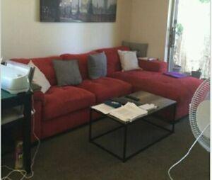 Big red corner sofa