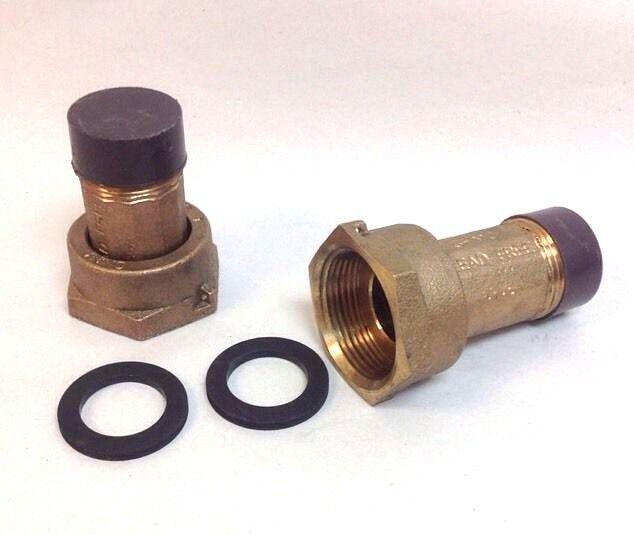 """PAIR 1"""" Water Meter Coupling, LEAD-FREE brass, 1"""" Swivel meter nut x NPT Male"""