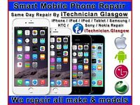 SAME DAY Repairs iPhone 7 6 5C 5S iPad Sony Samsung Cracked Glass Screen Repair Telecom Shop Glasgow