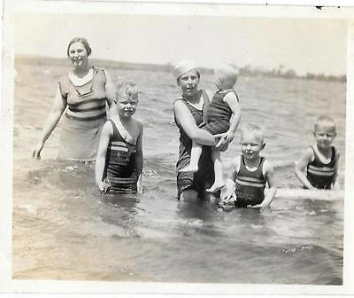 Vintage Old 1920's Photo Mother with FIVE Sons Little Boys Swimsuit Fashion - 1920s Boys Fashion