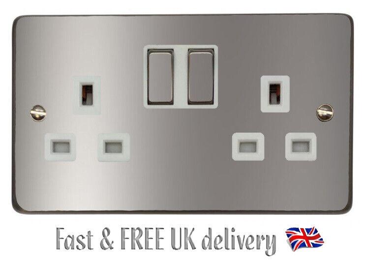 Home Decoration - Plain Silver Power Socket Light Switch Sticker Vinyl / Skin Cover Decal