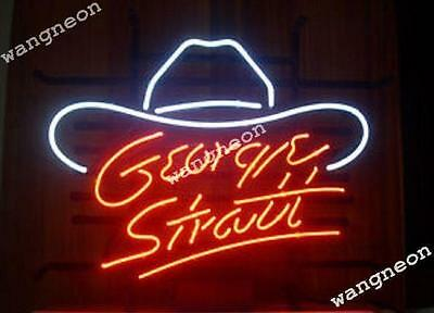 Rare GEORGE STRAIT Cowboy Hat Real Glass Beer Bar Neon Sign Gift FAST SHIPPING - Neon Cowboy Hat