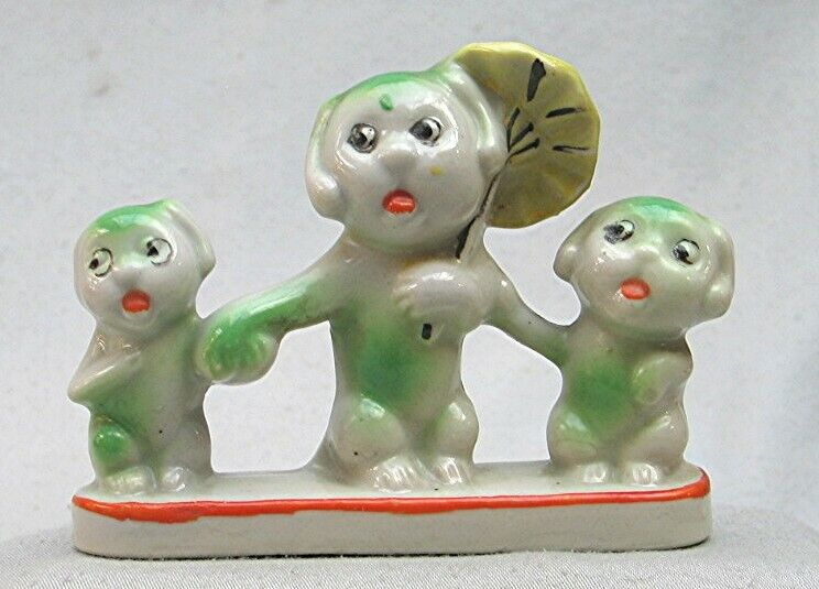 Vintage Ceramic set of Three Dogs -- Made in Japan   **4/2**