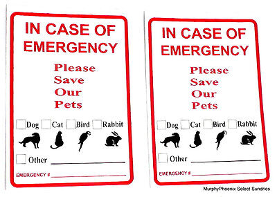 2 Pet Emergency Rescue Window/Door Stickers Dog Cat Bird Rabbit Other FREE SHIP