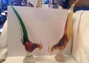 Two large murano glass pheasant