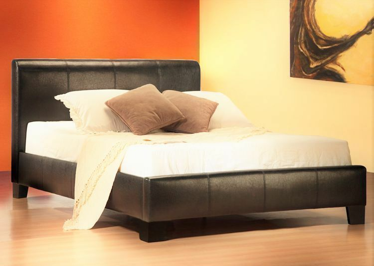 Low Base Double Leather Bed Frame With Sprung Mattress Fast Delivery