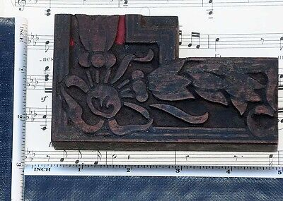 Rare Ornament Letterpress Wooden Printing Block Very Rare Art Nouveau Fleuron