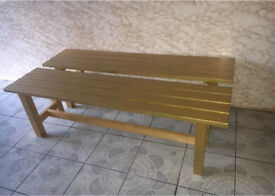 Wooden benches painted gold