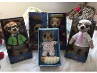 5x Meerkat collectable Teddy Bear 100% Original perfect condition toy children