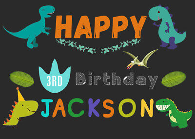 Cartoon Dinosaur Party Backdrop For Kids Custom Name Age Boys 1st Birthday Party