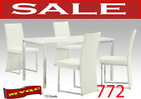 772 white, dinette sets, leather chairs, tables, cabinet, chaise
