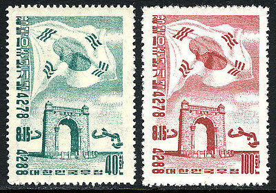 Korea 218-219, MNH. Independence, 10th anniv. Flag, Arch, 1955