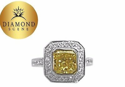GIA CERTIFIED FANCY YELLOW COLOR GRADE SI1 CLARITY RADIANT 2.52 CT PLATINUM