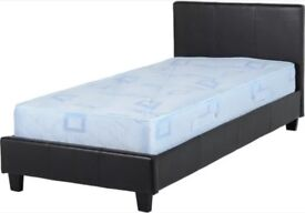 3FT single brown faux leather bed