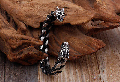 Mens Leather Wrap Stainless Steel Dragon/Skull/Wolf Head Open Cuff Bracelet +Box (Mens Skull Dragon)