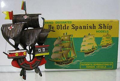 1930's Vintage Ye Olde Spanish Sailing Ship Hand Decorated Model