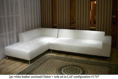 Modern contemporary white leather sectional sofa + chaise 2 pieces set #1707