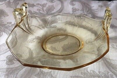 "Fostoria Glass Fairfax #2375 Topaz Yellow BonBon Candy Tray Dish 7""x 5 3/4"""