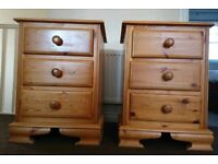 *number ammendment* A pair of solid pine three drawer bed side tables