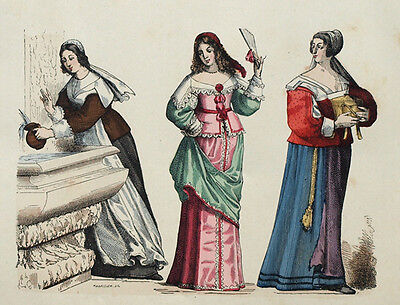 Kostüm Mode Französische Magd Bourgeois Provence Gravur Originell 19. - Französisch Magd Kostüm