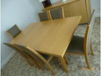 Dining Room Table, 6 Chairs and 2 matching sideboards