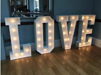 Iove led letters wedding