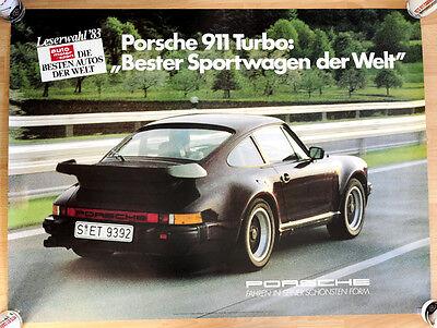 "org. Porsche Plakat Werbe Poster ""Bester Sportwagen"" 1983 Porsche 911 Turbo"