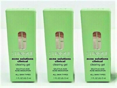 3 x Clinique Acne Solutions Clinical Clearing Gel - Sample Size .1 oz/3 ml each